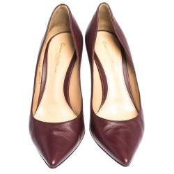 Sergio Rossi Burgundy Leather Pointed Toe Pumps Size 39