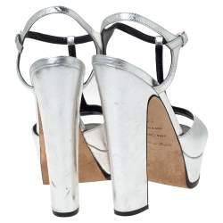 Sergio Rossi Metallic Silver Textured Leather Platform Ankle Strap Sandals Size 36