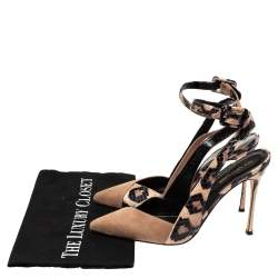 Sergio Rossi Beige/Black Suede And Python Pointed Toe Ankle Wrap Sandals Size 38