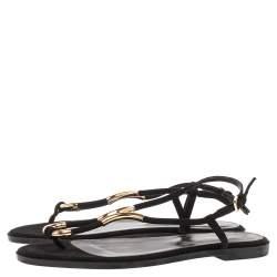 Sergio Rossi Black Suede Gold Embellished Flat Sandals Size 38