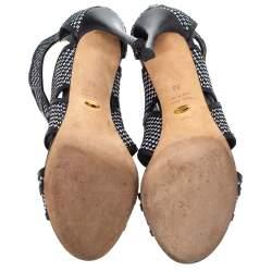 Sergio Rossi Black/White Woven Raffia And Leather Cutout Sandals Size 36