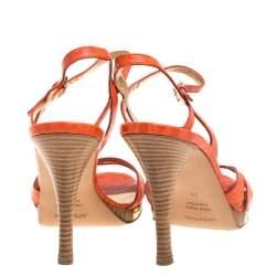 Sergio Rossi Orange Croc Embossed Leather Slingback Sandals Size 40