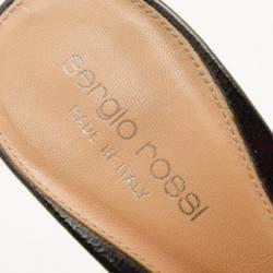 Sergio Rossi Black Leather Wooden Platform Slides Size 38