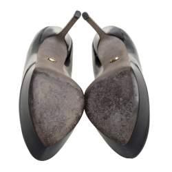 Sergio Rossi Black Patent Leather Peep Toe Platform Pump Size 38