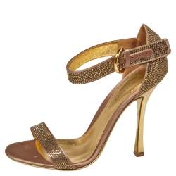 Sergio Rossi Gold  Satin And Crystal Embellished  Studded Ankle Strap Sandals Size 37