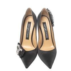 Sergio Rossi Black Satin Icona Embellished Pointed Toe Pumps Size 39