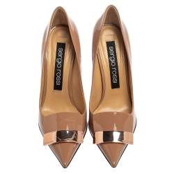 Sergio Rossi Beige Patent Leather SR1 Pointed Toe Pumps Size 39