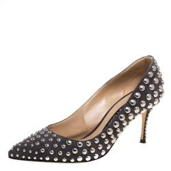 Sergio Rossi Grey Suede Studded Pumps Size 38