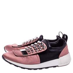 Sergio Rossi Pink/Black Satin And Leather  Crystal Embellished Sneakers Size 40