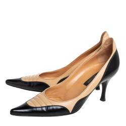 Sergio Rossi Black/Beige Leather Pointed Toe Pumps Size 38