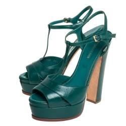 Sergio Rossi Green Leather T Strap Platform Sandals Size 36.5