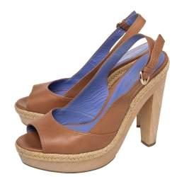Sergio Rossi Brown Leather Platform Espadrille Slingback Sandals Size 39.5