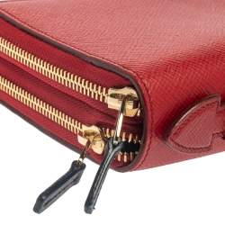 Smythson Red Leather Double Zip Panama Wallet