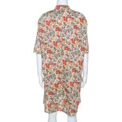 Sonia Rykiel Multicolor Floral Printed Cotton Waist Tie Detail Shirt Dress S