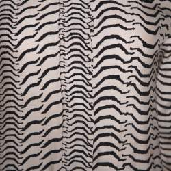 Sonia Rykiel Bicolor Printed Silk Long Sleeve Shift Dress M