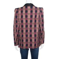 Sonia Rykiel Multicolor Checked Printed Cotton and Linen Contrast Collar Blazer M