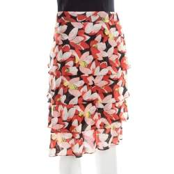 Sonia Rykiel Multicolor Floral Printed Cotton Tiered Skirt L