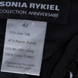 Sonia Rykiel Black Silk Blend Front Bow Detail Skirt L