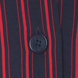 Sonia Rykiel Navy Blue & Red Striped Silk Crepe De Chine Shirt XL