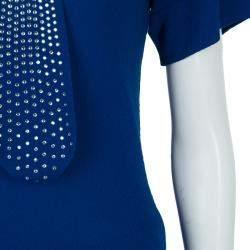 Sonia Rykiel Blue Knit Short Sleeve Embellished Tie Detail Top S