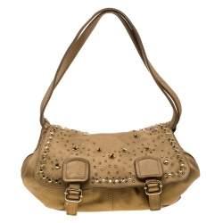Sonia Rykiel Metallic Gold Leather Studded Shoulder Bag