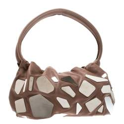 Sonia Rykiel Dark Beige Glass Embellished Leather Hobo