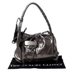 Sonia Rykiel Silver Leather Chain Embellished Shoulder Bag