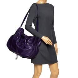 Sonia Rykiel Purple Leather Drawstring Tote