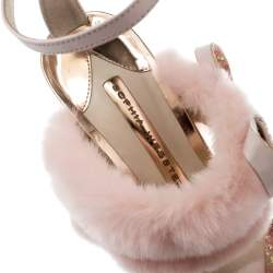 Sophia Webster Pink Faux Fur And Leather Bella Bow Embellished Ankle Strap Sandals Size 38.5