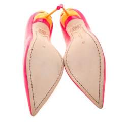 Sophia Webster Florescent Pink Leather Coco Flamingo Pointed Toe Pumps Size 38