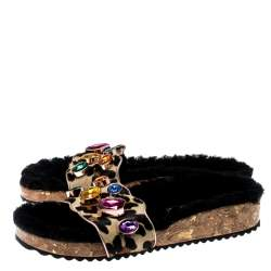 Sophia Webster Beige Leopard Print Calf Hair Crystal Embellished Slides Size 39.5