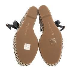 Sophia Webster Black Patent Leather and PVC Dina Crystal Studded Wedge Espadrille Platform Ankle Strap Sandals Size 39