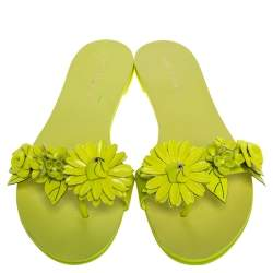 Sophia Webster Yellow Leather Lilico Flower Embellished Flat Slides Size 41
