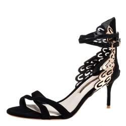 Sophia Webster Black Suede and Laser Cut Rose Gold Leather Micah Open Toe Sandals Size 40