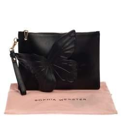 Sophia Webster Black Leather Butterfly Wristlet Clutch