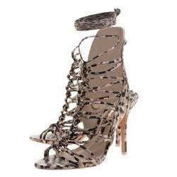 Sophia Webster Beige Leopard Print Leather Lacey Tie Up Sandals Size 39.5