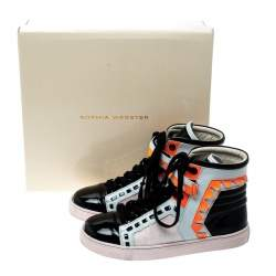 Sophia Webster Multicolor Leather and Glitter Riko High Top Sneakers Size 37