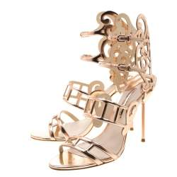 Sophia Webster Metallic Rose Gold Cut Out Leather Birdie Strappy Sandals Size 41