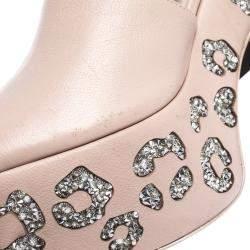 Sophia Webster Beige Leather Havisham Crystal Embellished Leopard Design Ankle Strap Platform Sandals Size 40