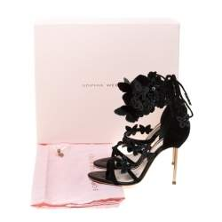 Sophia Webster Black Suede And Patent Leather Harmony Butterfly Ankle Cuff Sandals Size 35