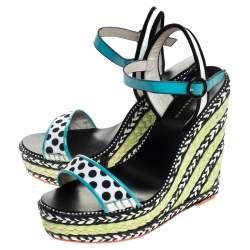 Sophia Webster Multicolor Polka Dot Canvas And Leather Lucita Espadrille Wedges Sandals Size 39