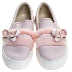 Sophia Webster Pink Leather And Fur Embellished Bow Slip On Sneakers Size 37