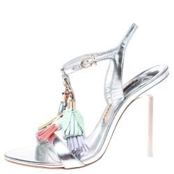 Sophia Webster Silver Patent Leather Layla Tassel Sandals Size 36