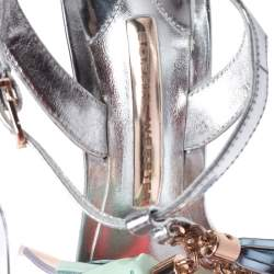 Sophia Webster Silver Patent Leather Layla Tassel Sandals Size 36