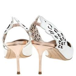 Sophia Webster White Leather Angelo Slingback Pointed Toe Sandals Size 38.5