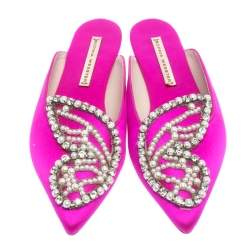 Sophia Webster Fuchsia Satin Crystal And Pearl Embellished Bibi Butterfly Pointed Toe Flat Slides Size 36.5
