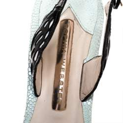 Sophia Webster Multicolor Patent Leather And Leather Lilico Underwater Floral Embellished Slingback Sandals Size 38