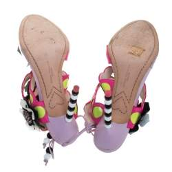 Sophia Webster Multicolor Leather And PVC Amazona Ankle Wrap Sandals Size 38