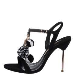 Sophia Webster Black Suede Layla Pom Pom T-Strap Sandals Size 40