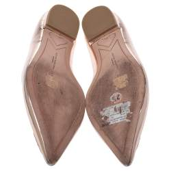 Sophia Webster Metallic Rose Gold Leather Bibi Butterfly Pointed Toe Ballet Flats Size 39